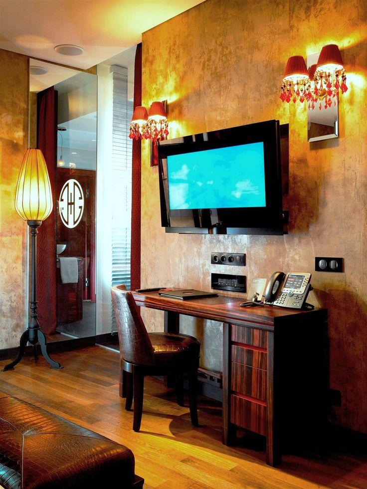 Buddha Bar Hotel Prague, Czech Republic. #lamp #wallsconces #hotel #bed #room #oriental #lighting #design #warm #color #interior