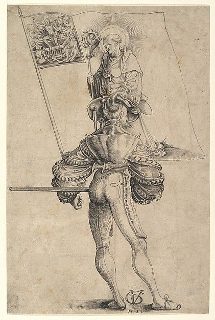 Conceived as one of a series of standard-bearers of the thirteen cantons of the Swiss Confederacy, this drawing depicts a mercenary holding the banner of Glarus, featuring the sixth-century Irish monk Saint Fridolin, who converted the region to Christianity