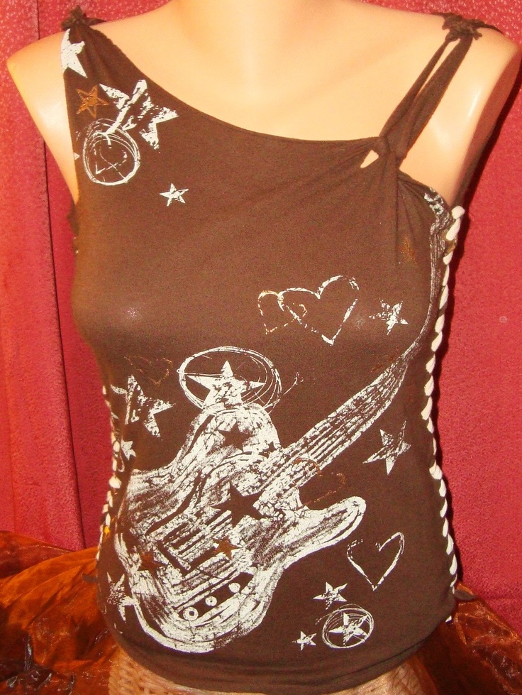 Brown Rocker Chick Guitar Remade Altered Refashioned Custom Tee - Medium.