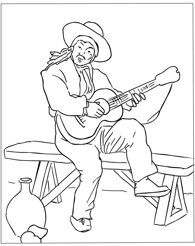 24 best images about music coloring on pinterest coloring  shape and toys Shrek Coloring Pages  Guitar Player Coloring Page