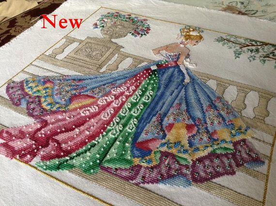 Princesse Grace Ball Gown-Haute Couture des années 1950 Fashion style compté Cross Stitch Chart modèle Téléchargement instantané
