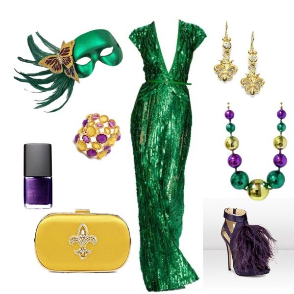 """Mardi Gras Ball."" Love the dress, but could do without pretty much all of the accessories."