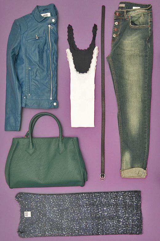 Look woman FW 2013/14: Giubbotto ecopelle VERO MODA 39,90€ Jeans BESPOKE 59,90€ Canotta VERO MODA 8,90€ Borsa PIECES 39,90€ Maglia VERO MODA 39,90€ Cintura PIECES 9,90€ www.easyandco.com