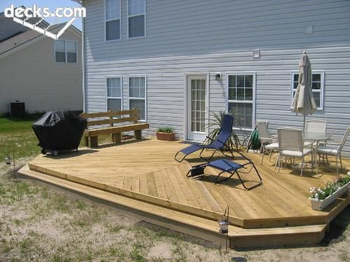 Low level with steps all the way around decks for Flat pack garden decking