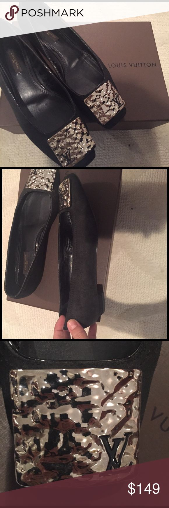 Louis Vuitton flats w/ original box! Classic black LV flats with silver toe detail including the LV logo. Some wear on the soles otherwise no signs of wear. Box included. They first true to size and are very comfortable! Great for work of casual wear. Make an offer :) Louis Vuitton Shoes Flats & Loafers