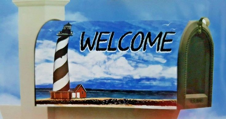 Coastal Lighthouse Magnetic Mailbox Cover Hatteras Chesapeake Bay