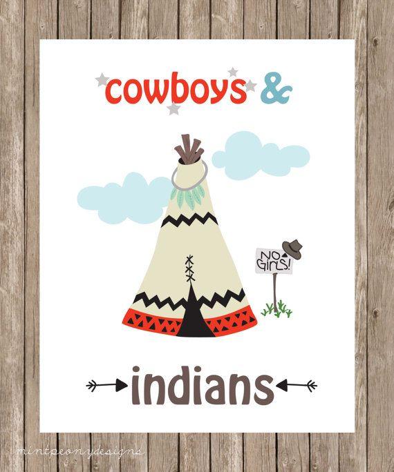 Cowboys en Indianen! 8 x 10 digitale print.  Deze aanbieding bevat een afdrukbare art print van 8 x 10 inch. Uw digitaal dossier zal worden