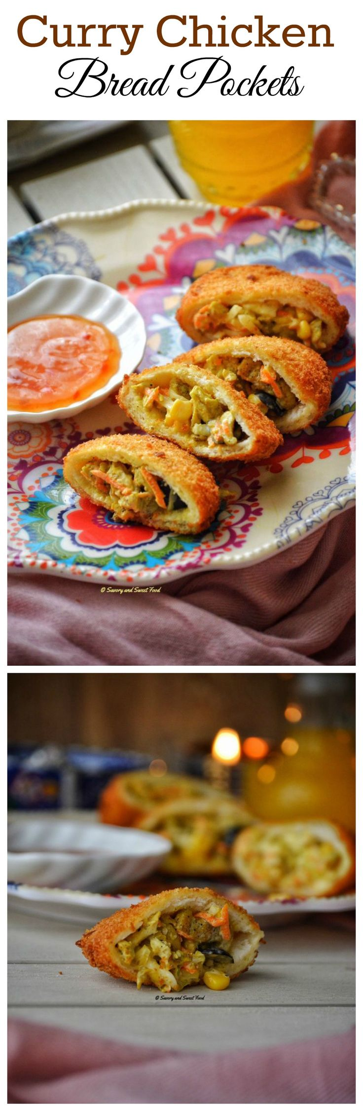 A curry flavoured creamy chicken filling stuffed inside crispy bread pockets