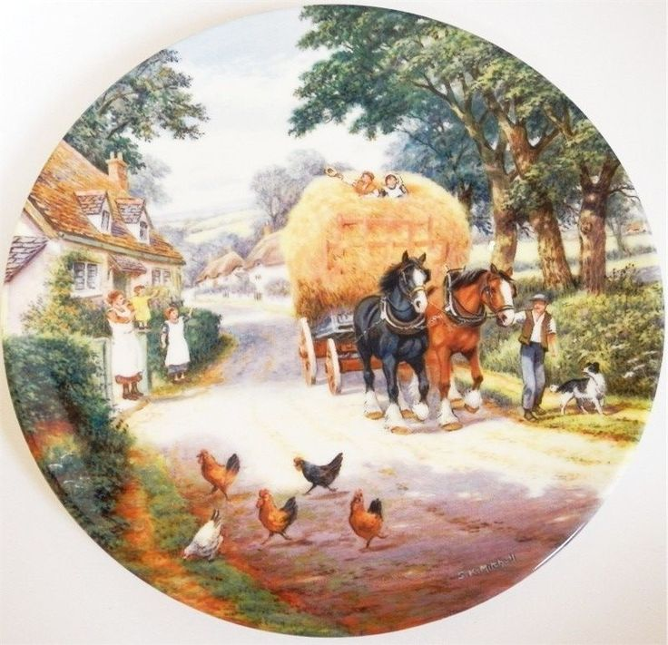 Royal Doulton Bradex Plate Bringing Home The Hay Stan Mitchell The Village Shire