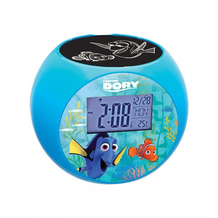 This coolFinding Nemo Dory Projector Alarm Clock will not only get your little one up in the morning, but it also functions as a nightlight, projecting images onto the ceiling so your child can drift off to sleep under the sea with Dory and Nemo!