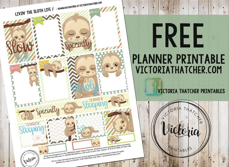 FREE Livin' The Sloth Life - Planner Printable BY * Victoria Thatcher