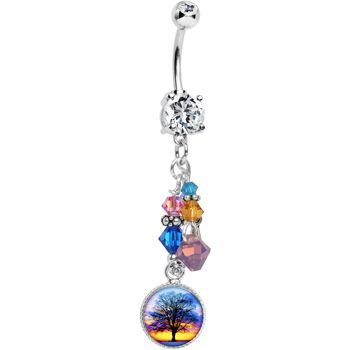 Handcrafted Charm Crystal Sunset Tree Dangle Belly Ring $12.99 #sunset #beauty #beach #bodycandy #piercing #bellyring