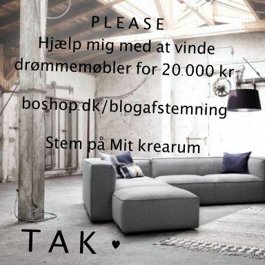Juhuuuuu - jeg er blandt finalisterne. HJÆLP MIG med at vinde drømmemøbler fra BoShop. Stem på Mit krearum: http://boshop.dk/blogafstemning