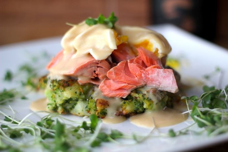 Poached Wild Salmon on a Broccoli Ginger Fritter Topped with Poached ...