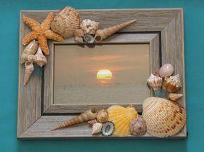 Seashell foto marco marco Shell playa decoración marco de