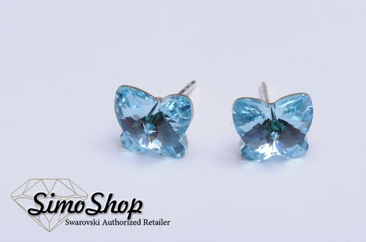 Cercei fluturasi swarovski cu tije din argint 925! #simoshop #bijuterii #accesorii #argint #swarovskicrystals #swarovski