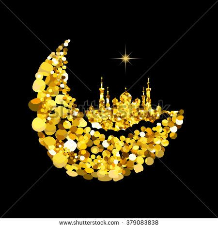 Glitter gold Silhouette of mosque with minarets on moon Crescent. Concept for Islamic  Muslim holidays Mawlid birthday prophet Muhammad, holy month Ramadan Kareem, Eid Mubarak, Fatima bint Muhammad