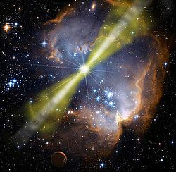 Gamma-ray Burst. It will destroy anything in its path within. Produced by a dying star,there is nothing we can do if one of these frightening rays hit our Earth. It wouldn't destroy the whole planet but would definitely alter life. It's a bad day for you if you are in the path of one of these. Now, the opposite side of the earth would be a great place to be from where it hits, because it will decompose the molecules in your body.