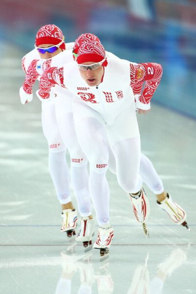 Denis Yuskov, Aleksandr Rumyantsev and Ivan Skobrev of Russia compete during the Men's Team Pursuit Quarterfinals Speed Skating event (c) Getty Images