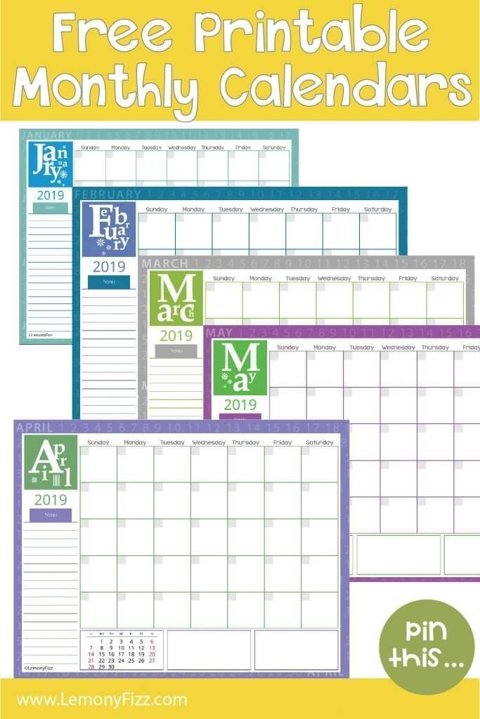 Get Your Free Copy of 2019 Monthly Calendar Pages Now Free