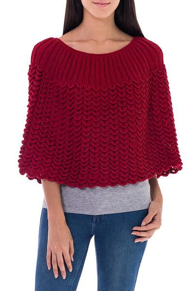 100% alpaca poncho, 'Scarlet Petals' - Red Short Poncho Cloak Knitted by Hand (image 2a)