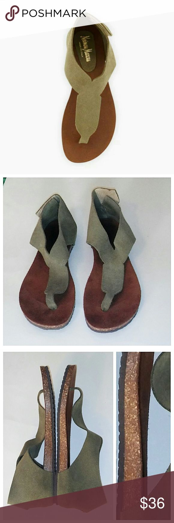 Neiman Marcus Arya Suede Sandals Earthy, comfy shoes in like new condition. Rear velcro closure. Truest color reflected in pic 7. 💥 Reasonable offers accepted 💥 Neiman Marcus Shoes Sandals