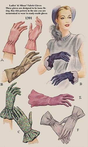 Gloves (from the 40s 50s of course) color illustration print ad pink blue green grey tan
