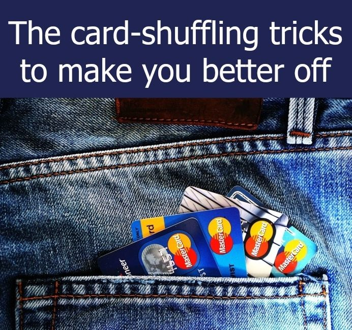 "Credit cards in a back pocket with the text ""The card-shuffling tricks to make…"