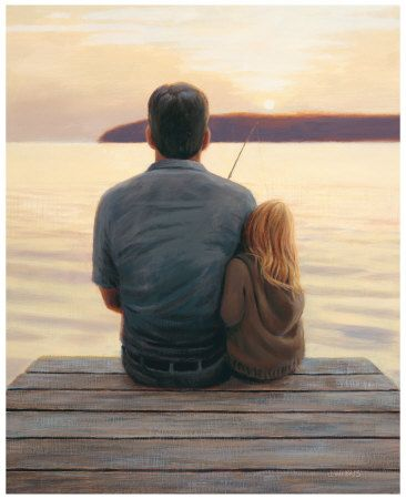 Daddy and daughter fishing off the dock :) I LOVE this!