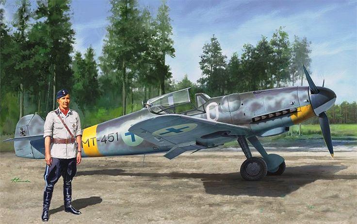 Bf 109G-6 Eino Ilmari Juutilainen, Top Finnish Air Force Ace (Hasegawa box art)