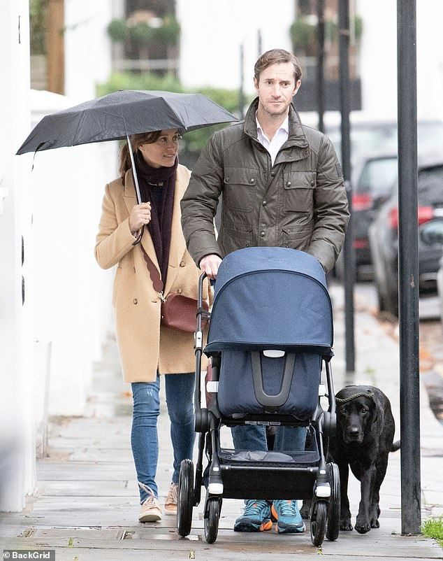 dfe836a08797b Pippa Middleton and husband James go for stroll with baby Arthur ...