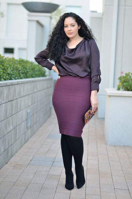 Purple skirt, grey top, black tights.  Purple on Purple, satin on knit awesome!   - Everyone. I just got some new shoes and a nice dress from here for CHEAP! Check out the amazing sale. http://www.superspringsales.com