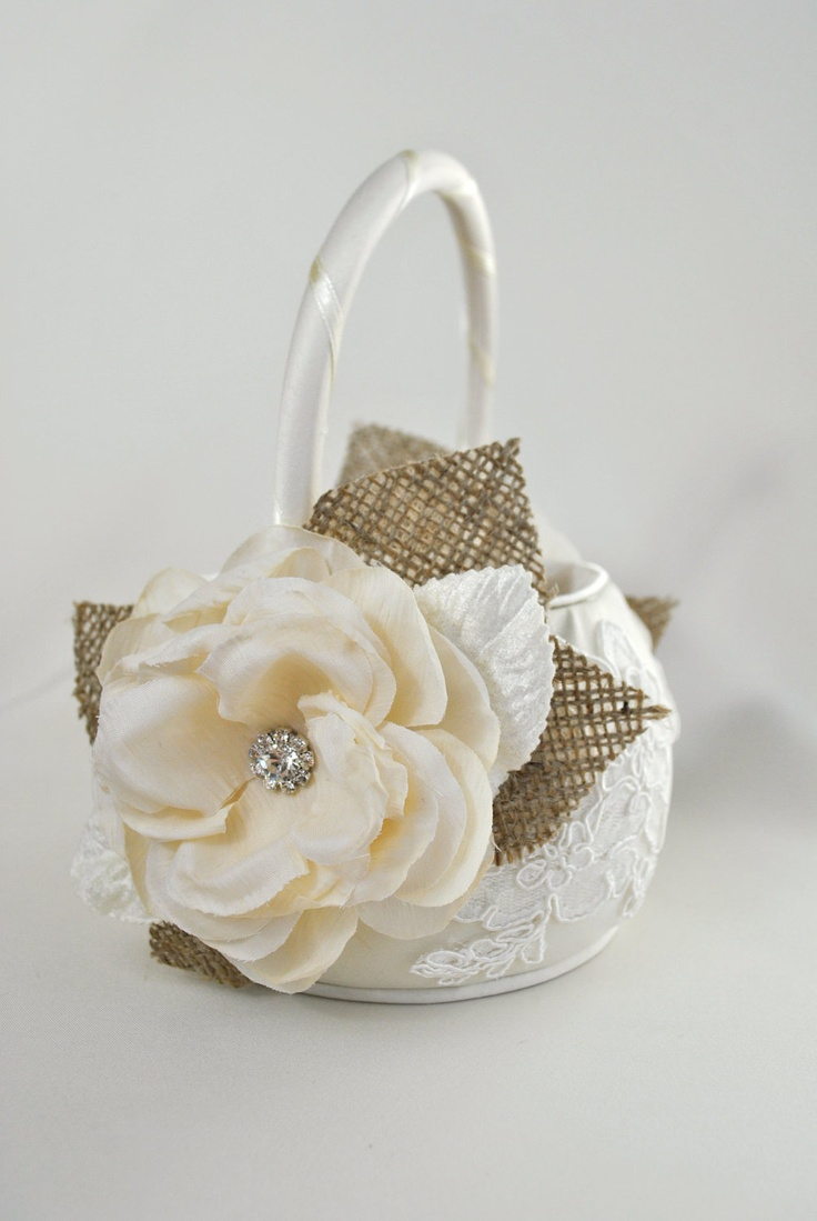Flower Girl Baskets Burlap : Ivory flower girl basket dream wedding