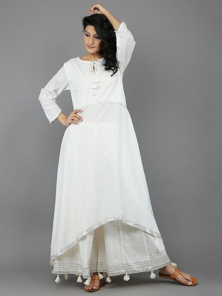Off White Cotton Kalidar Sharara