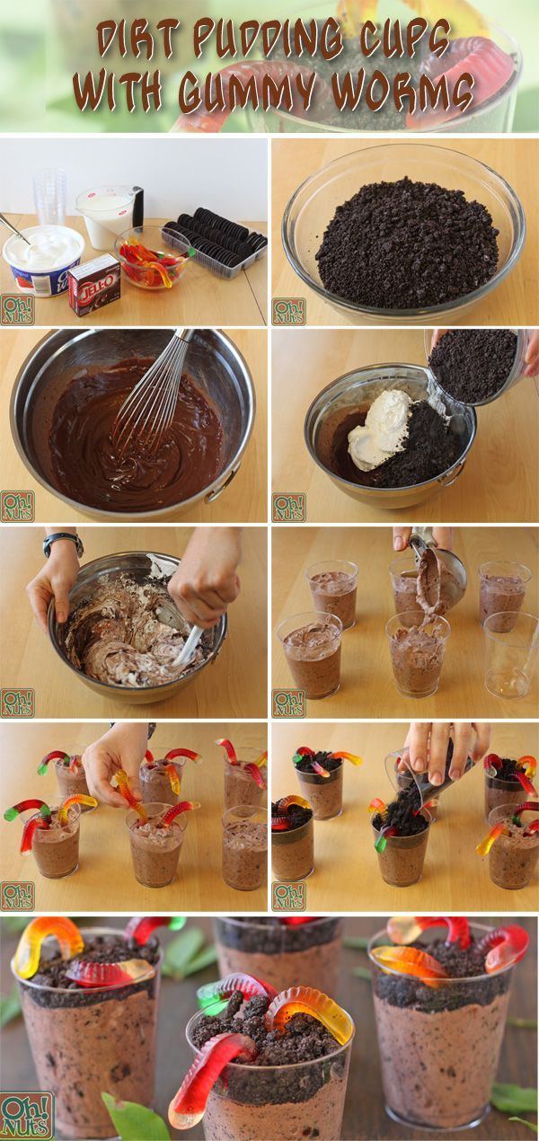 How to make Dirt Pudding Cups with Gummy Worms