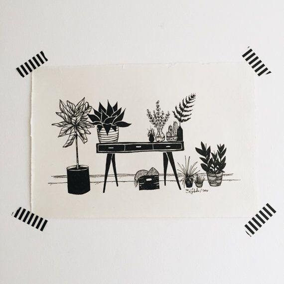 Midcentury modern styled desk with plants  DETAILS: • illustration by Britt Fabello / 2016 • handmade and hand cut paper • 7.5 x 11 inches • includes artwork only