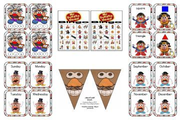 Mr. Potato Head - FREE printables include 4 sets of 5x7 posters (alphabet, numbers, money, and colors), alpha clothespin cards, days and months flashcards, banners, shape match, label the color, and bingo.