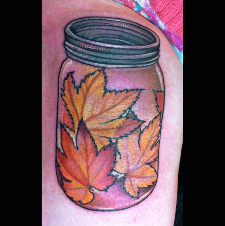 Jar Of Leaves Tattoo By Jessi Lawson Instagram- @Jessi
