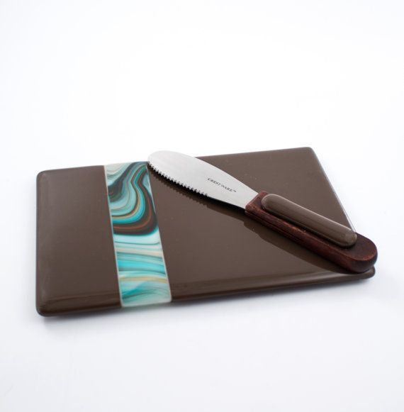 Cheese Serving Set Brown and Teal Fused Glass by Nostalgianmore #southweststyle #kitchenware #servingtray