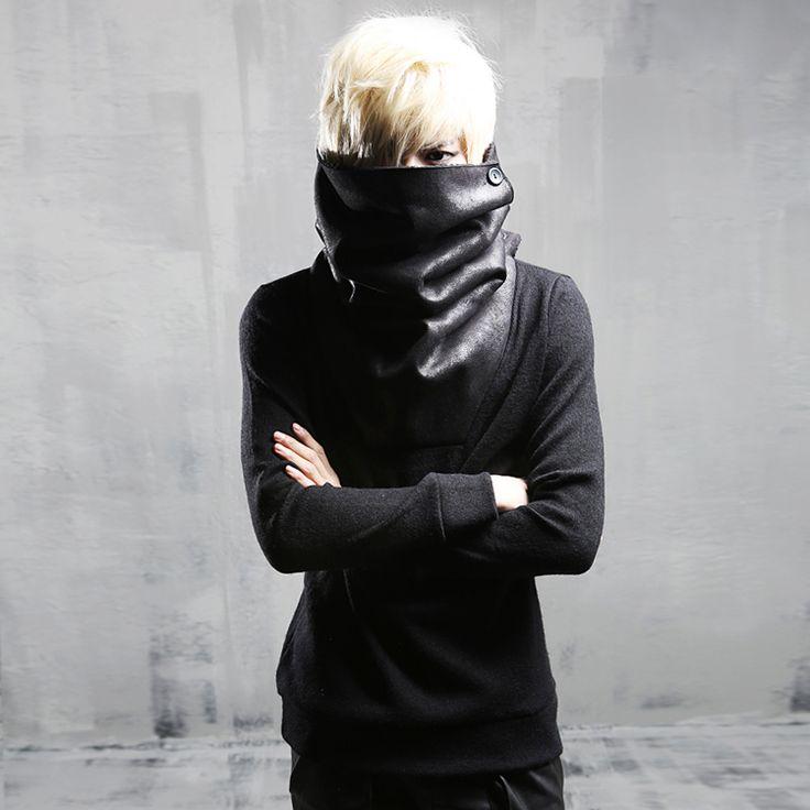 Cheap hoody men long, Buy Quality cool hoodies men directly from China hoodies men Suppliers: High neck cool hoodie men Long sleeve Black Rock punk style sweatshirts Autumn Winter