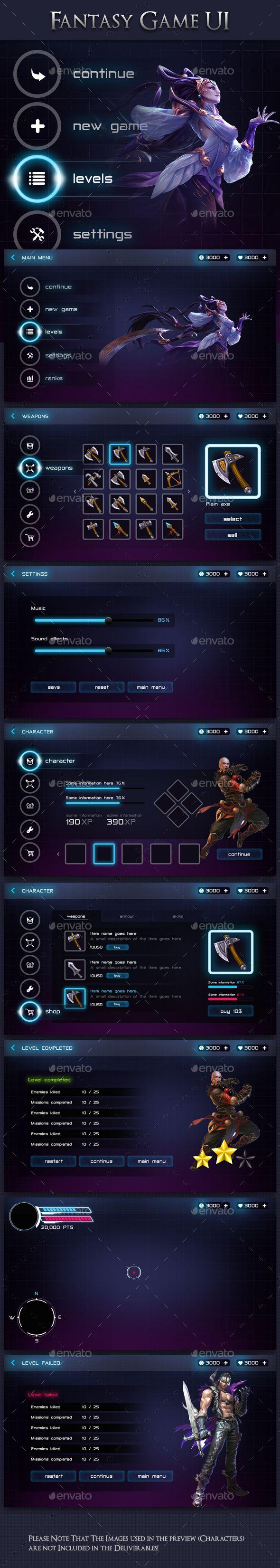 Modern Fantasy Game UI Kit - User Interfaces Game Assets