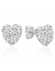 Sterling Silver Crystal Heart Stud Earrings - SALE $0.85 www.jewelryandwatches.co.za