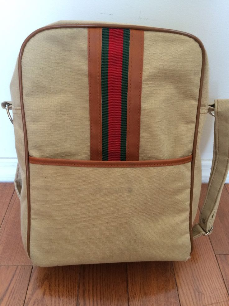 Vintage CARRY ON Bag | Tan Canvas with Stripes | Single Compartment w/Side Pocket | Mr. Roberts Designer Luggage | Metal Zipper by BrocanteBedStuyHOMME on Etsy