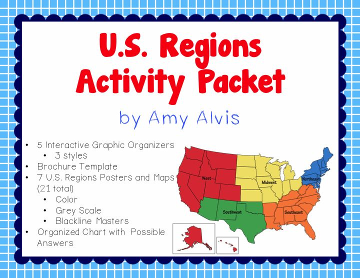 United States Regions Poster Map and Interactive Notebook INB Set ...