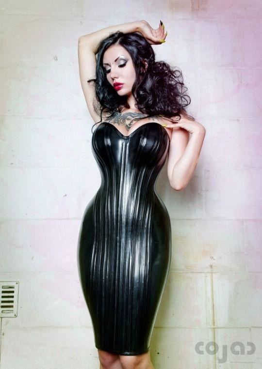 Latex corset dress