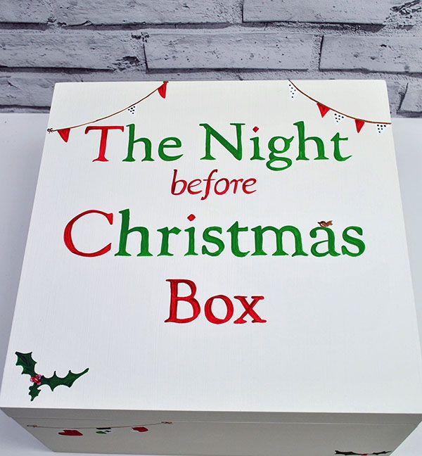 Wooden Christmas Eve box  A great new tradition to keep the magic going that little bit longer for my nearly 9 year old. Filling it with new pjs sweets, a Christmassy DVD , the night before christmas book some little puzzles and most importantly two christmas mugs hot choc and marshmallows can't wait to start this new tradition.