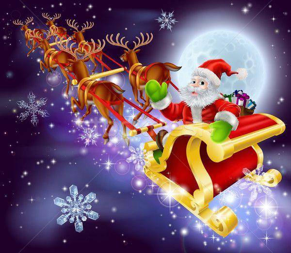Stock fotó: Karácsony · mikulás · repülés · szánkó · rajz · illusztráció