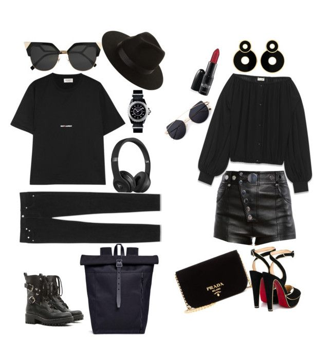 """""""Rich kid👼 Tomboy or sexy in black??"""" by cilphandethuong on Polyvore featuring mode, Fendi, RED Valentino, Nanamica, Alexander Wang, Beats by Dr. Dre, Lack of Color, Yves Saint Laurent, Prada et Christian Louboutin"""
