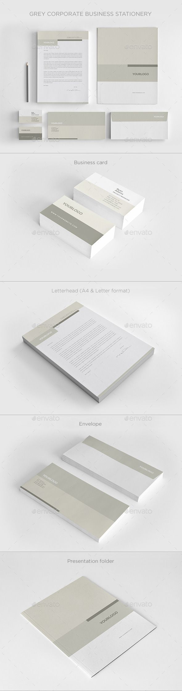 Grey Corporate Business Stationery - Stationery Print Templates  Clean and simple. Would look good with 2 greens, 1 grey and white.  Fonts are suitable.