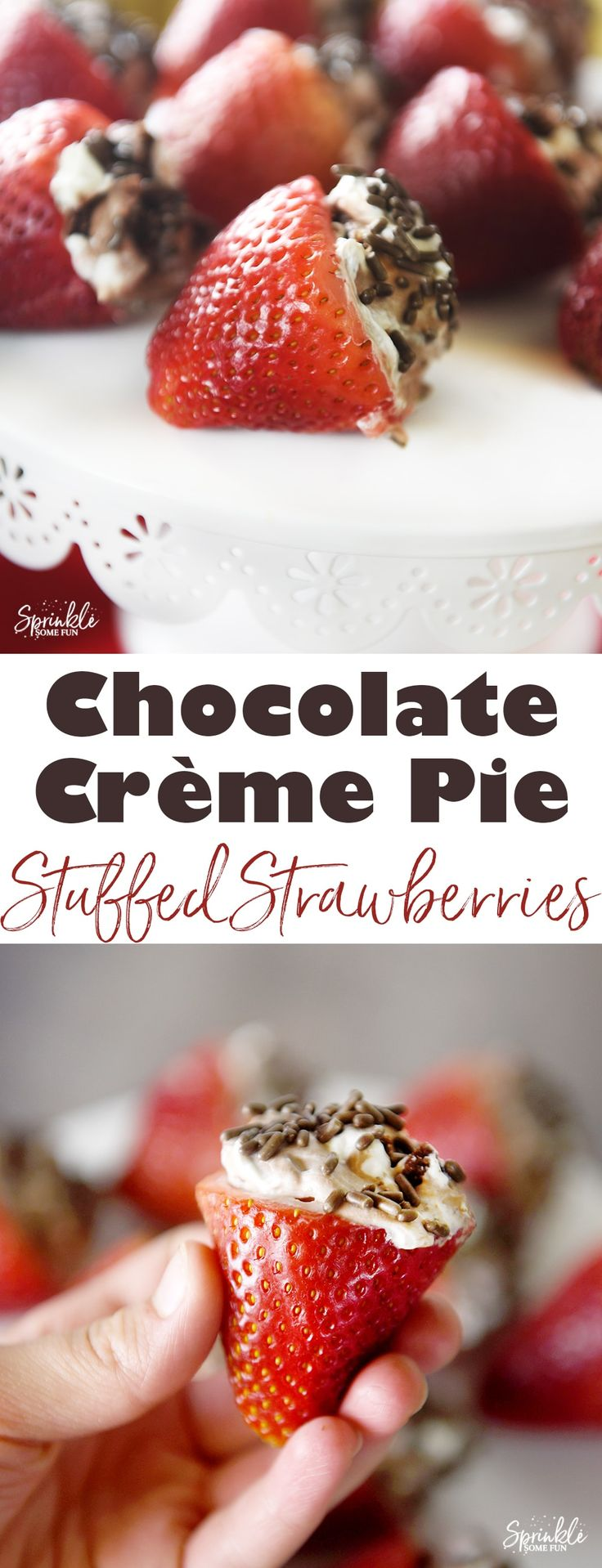 Chocolate Crème Pie Stuffed Strawberries are filled with a delicious Edwards Hershey Crème Pie and then sprinkled. You will LOVE this easy chocolate strawberry dessert!  #SameTasteNewLook #ad